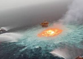 Petroleo: Sofocan incendio en ducto marino de mexicana Pemex cinco horas después